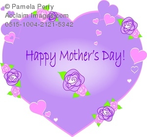 Clip Art Illustration of a Lavender Heart With Happy Mother's Day.