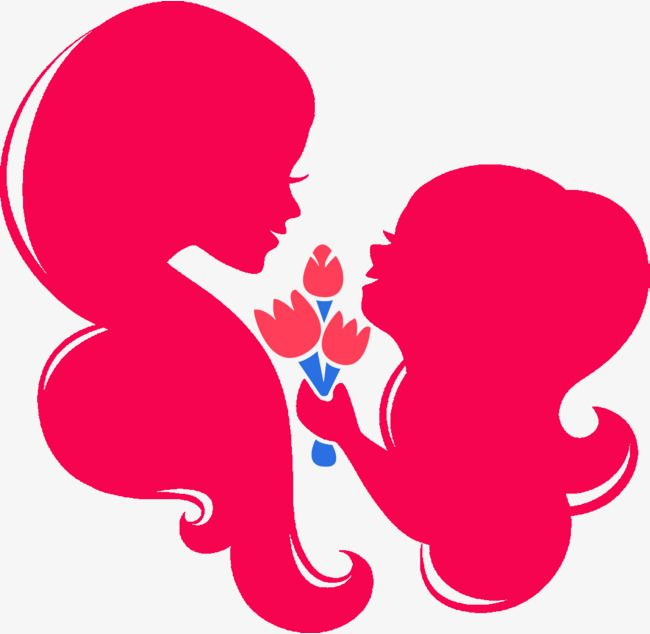Red Mother And Child Silhouette, Mother\'s Day, Maternal Love.