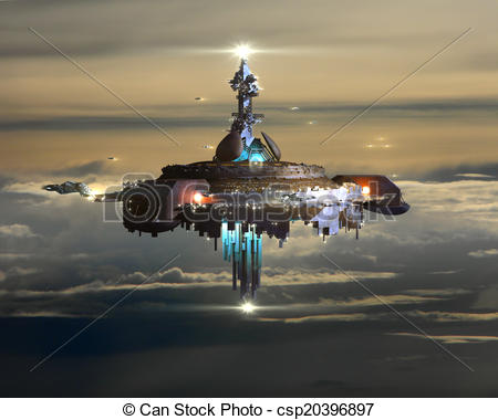 Stock Illustration of Alien Mothership above Earth.