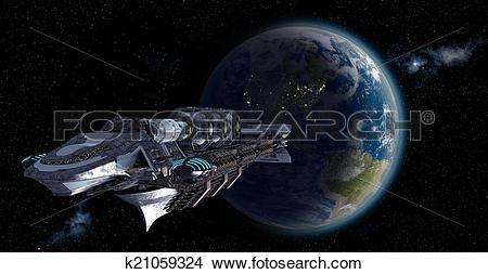Drawings of Alien mothership leaving Earth k21059324.