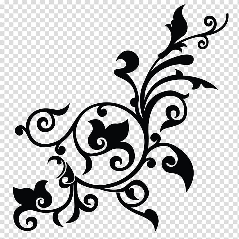 Blue background with black leaf illustration, Flower Pattern.