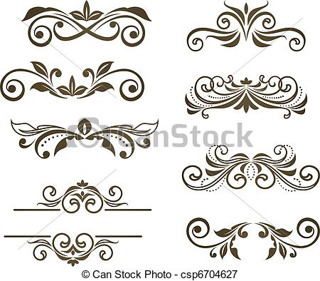 Vectors Illustration of Vintage floral motifs for design isolated.