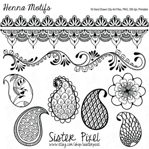 Henna Motif Clip Art Files in Black for Personal and Small.