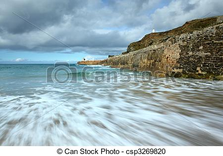 Stock Photography of Sea motion long exposure, Portreath pier.
