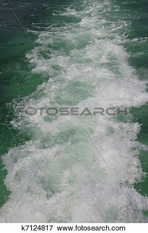 Picture of water footprint of the boat in motion on the sea.