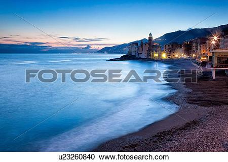 Stock Photography of Camogli: beach and sea with motion blur.