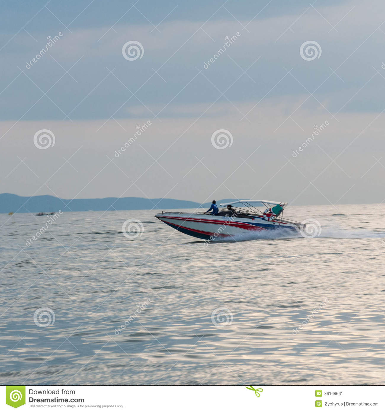 Motor Boat Driving Motion (Speed Boat) Stock Image.