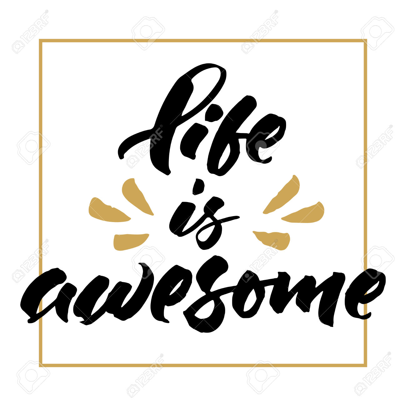 Inspirational Life Phrase 'Life Is Awesome'. Hand Brush Lettering.