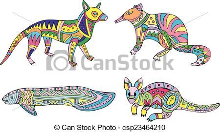 Vector Clip Art of Motley kangaroo, fish and exotic animals. Set.