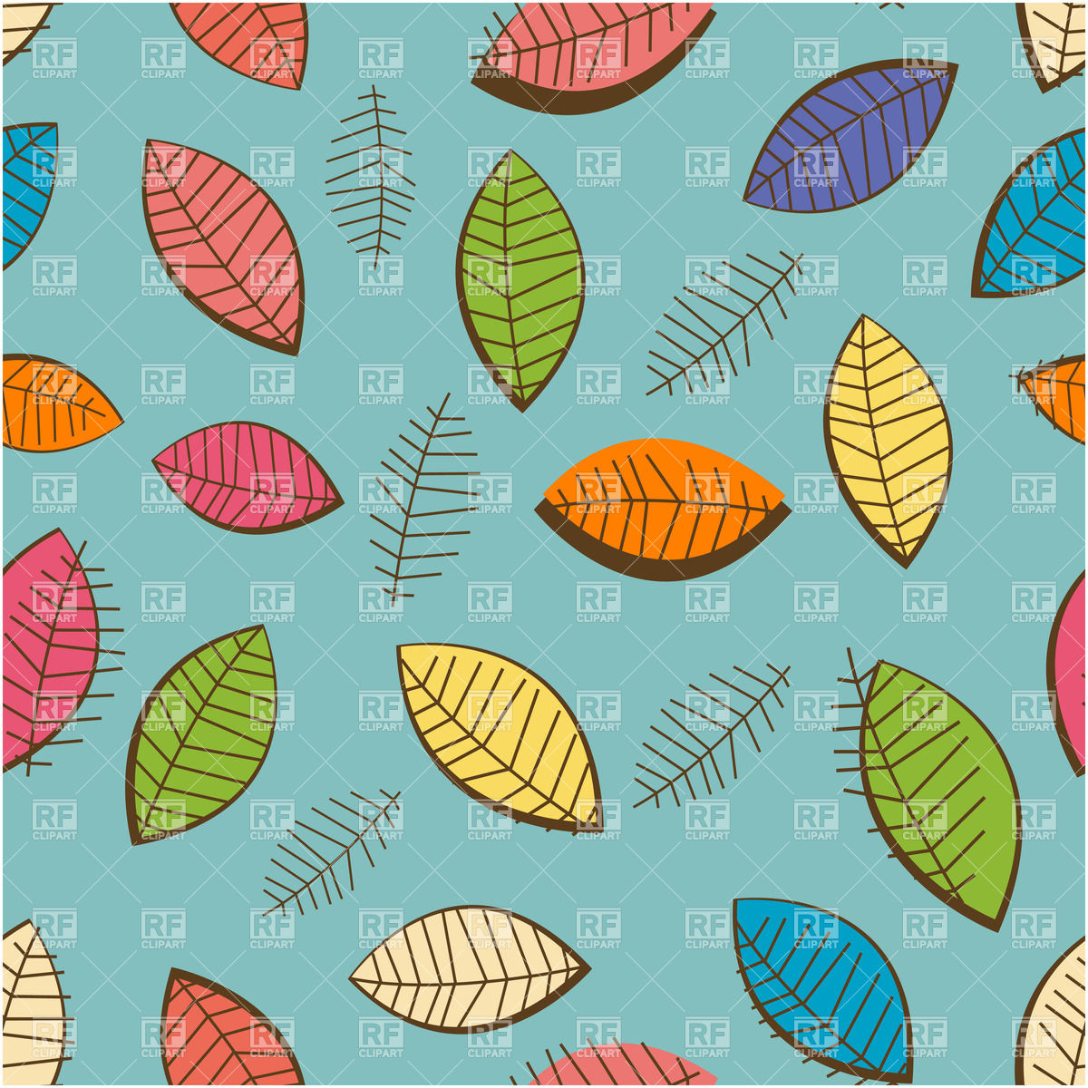 Stylized seamless pattern with motley autumn leaves Vector Image.