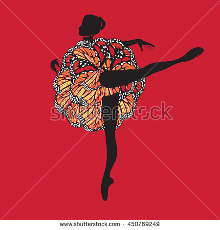 Vector Clipart With Silhouette Figure Of Ballerina In Motley.