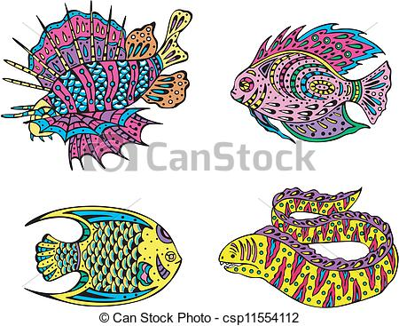 Vector Clip Art of Stylized motley fish. Set of color vector.