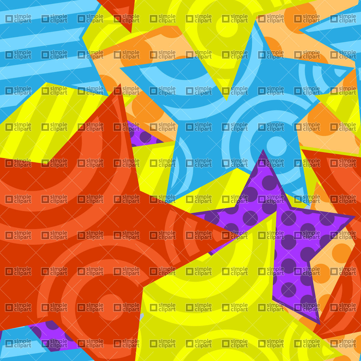 Seamless motley background with stars, vector clipart (eps), 1201.