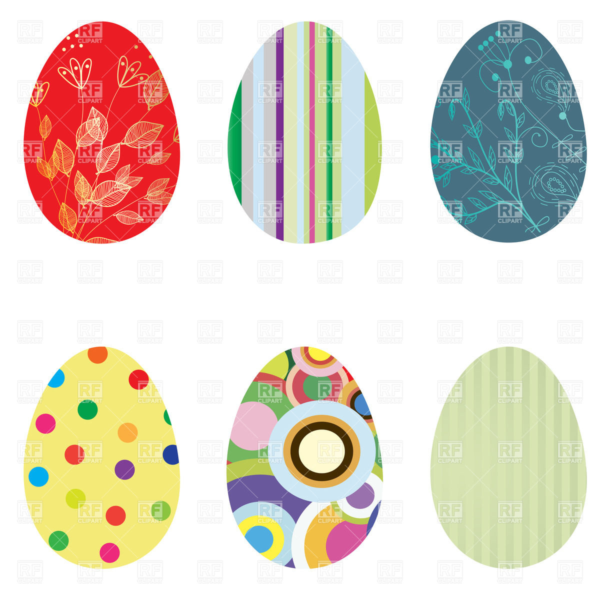 Ornate Easter eggs with motley patterns Vector Image #24450.