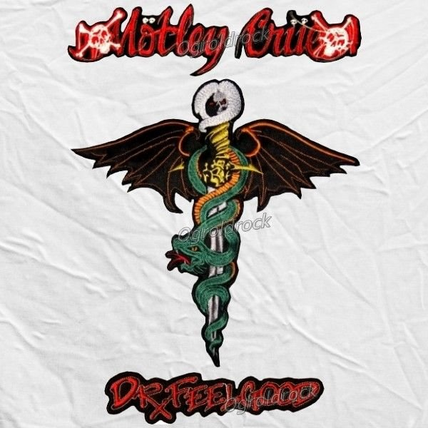Set Motley Crue Dr. Feelgood Big Logos Embroidered Patch Nikki Sixx Winged  Snake.
