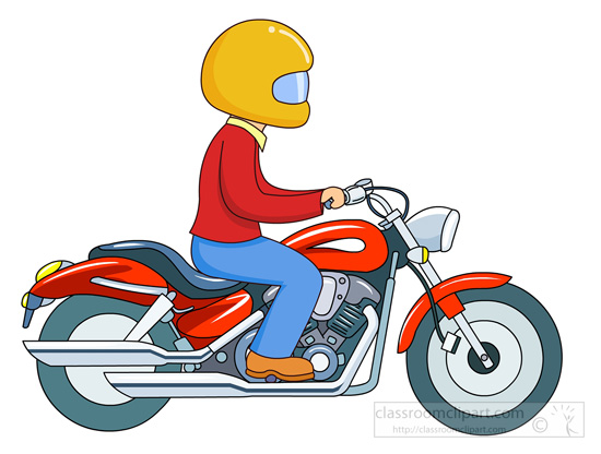 Man on motorbike clipart.