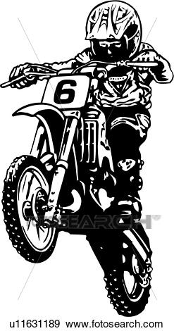 Illustration, lineart, motocross, motorcycle, race, sport, sports Clip Art.