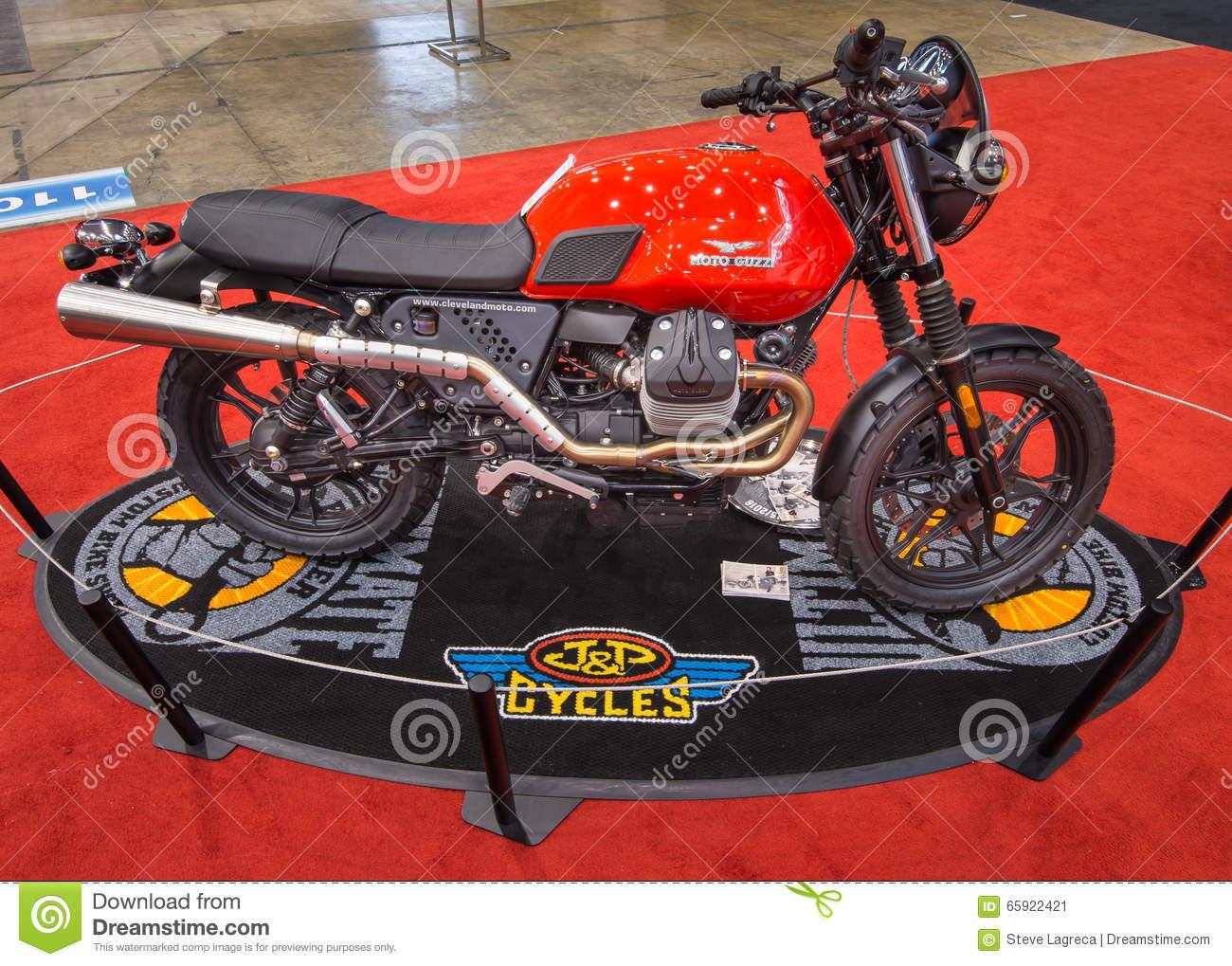 Customized Moto Guzzi V7 Scrambler Editorial Photo.