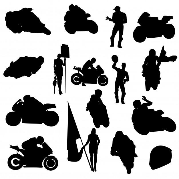 Moto sport automotive clipart symbol silhouette vector.