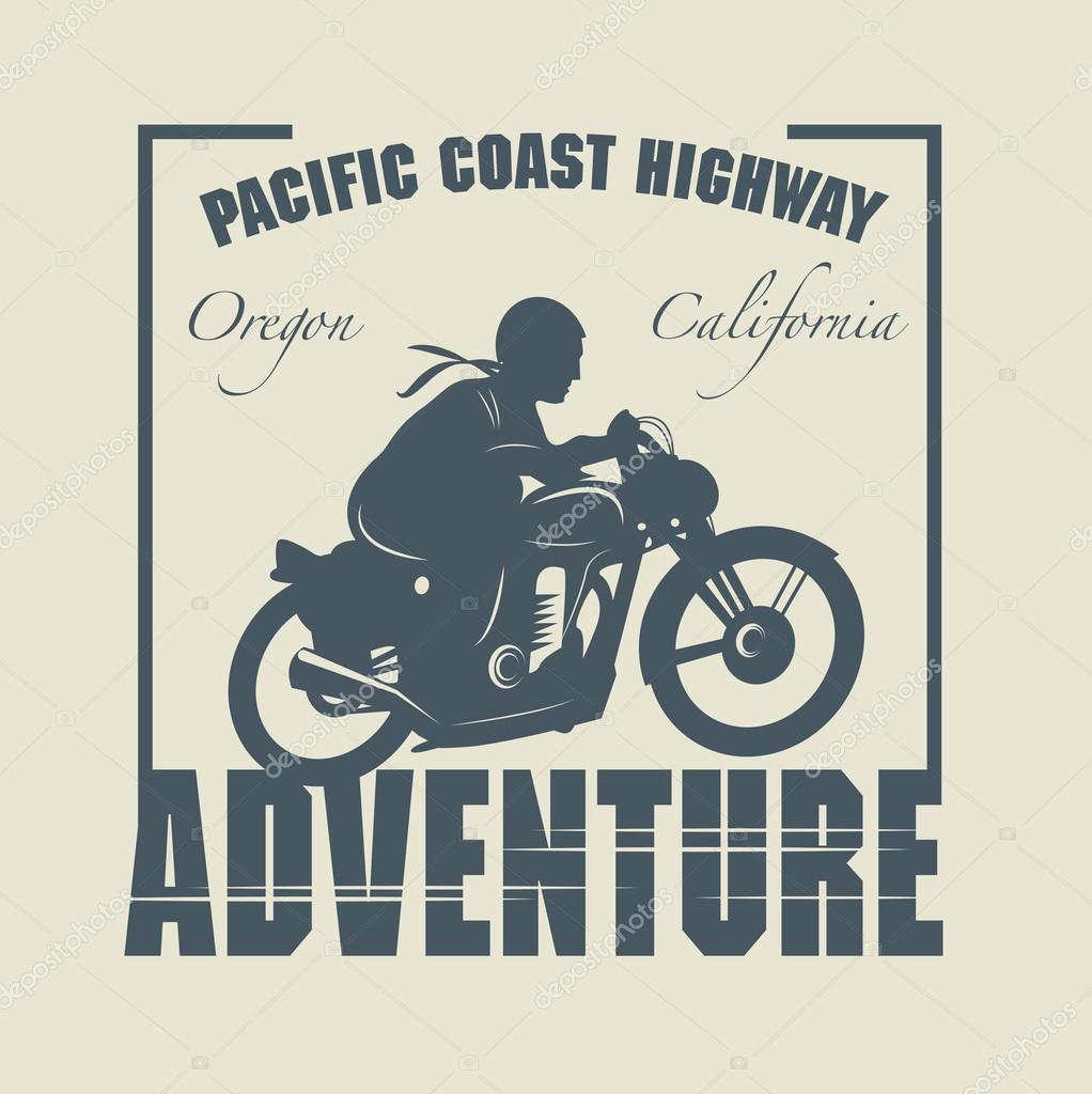 Etiqueta Vintage moto aventura — Archivo Imágenes Vectoriales.