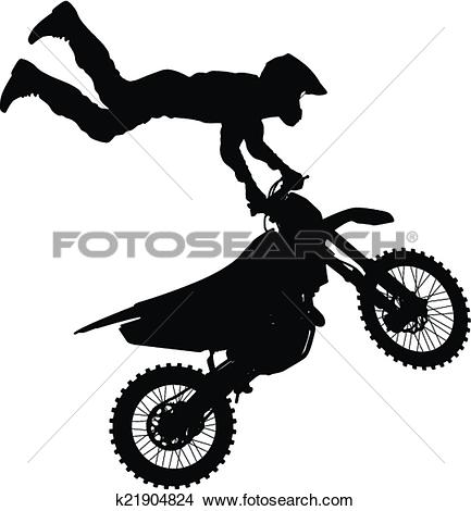 Clipart of silhouettes Motocross rider on a motorcycle. Vector.