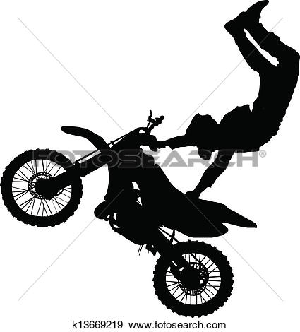 Stock Image of Motocross rider performing a jump on a motorcycle.