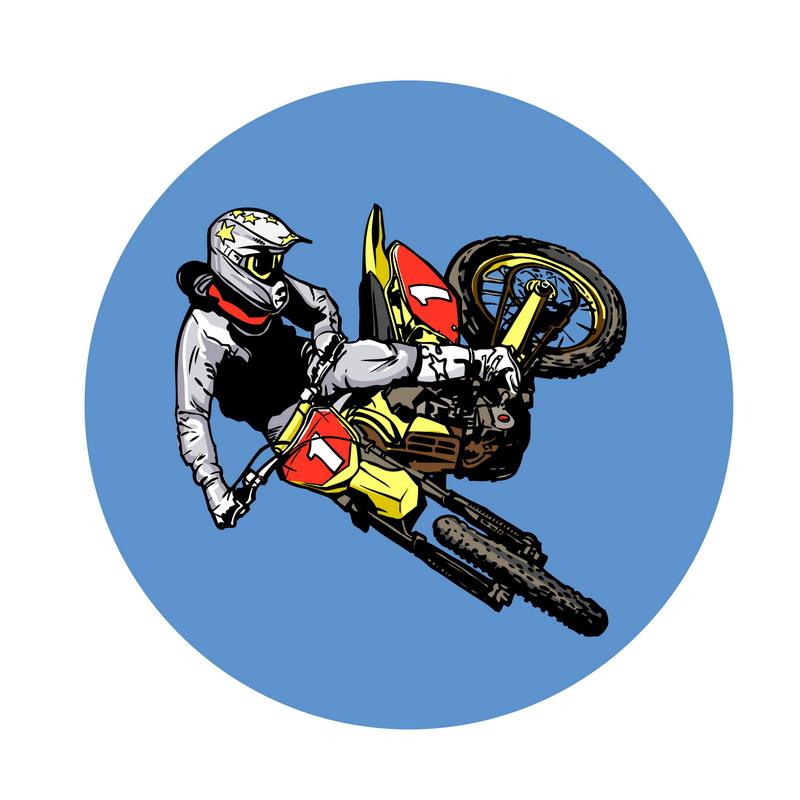 Dirt bike rider bike clipart.