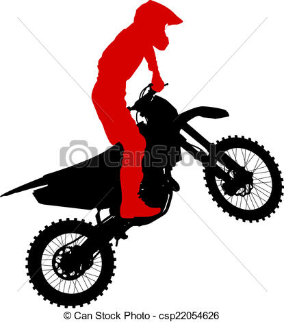 Vector Illustration of Black silhouettes Motocross rider on a.