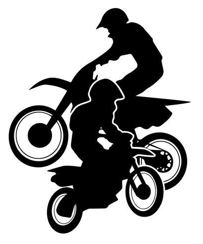 Motocross Dirt Bikes Silhouette Vector Illustration.