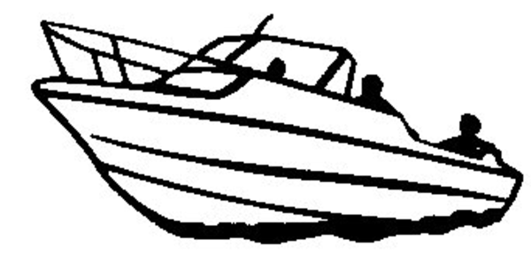 Speed Boat Black And White Clipart.