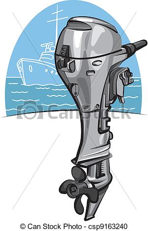 Vector Clipart of Outboard boat motor csp9163240.