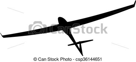 Clipart Vector of Black silhouette of a glider is not a white.