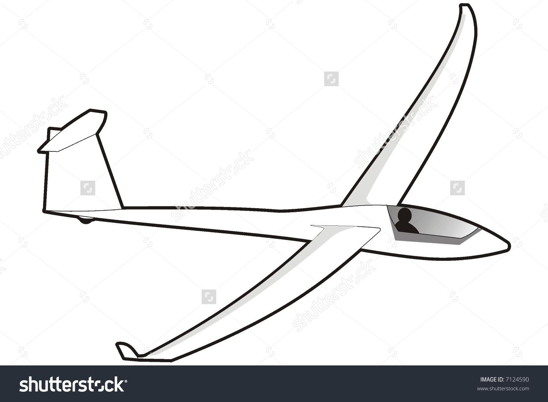 Art Illustration Black White Glider Stock Vector 7124590.