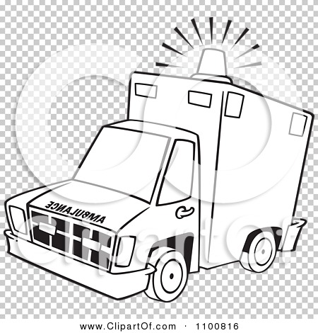 Clipart Outlined Ambulance With Lit Siren Light.
