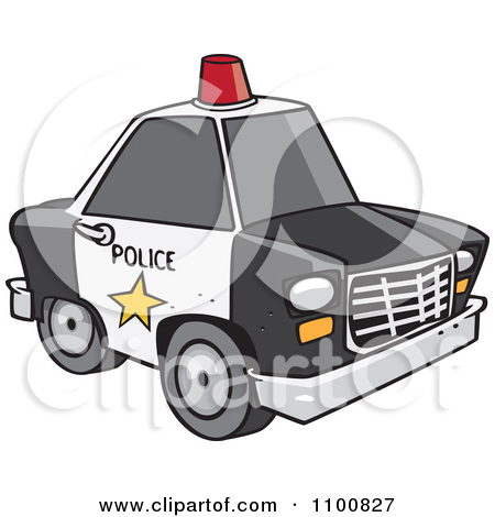 Clipart Outlined Police Car With A Siren Cone On The Roof.