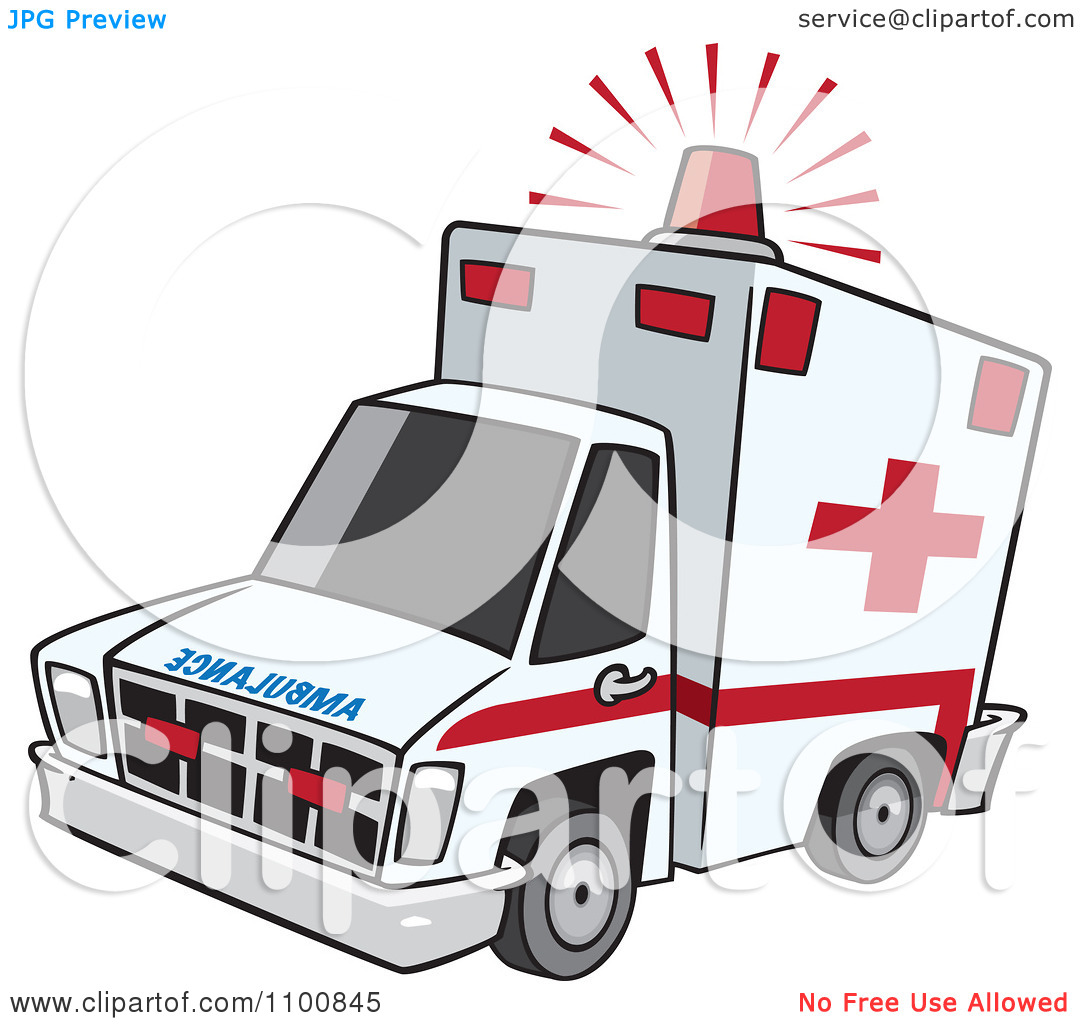 Clipart Emergency Ambulance With Lit Siren Light.