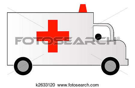 Stock Illustrations of white ambulance with red cross and siren.