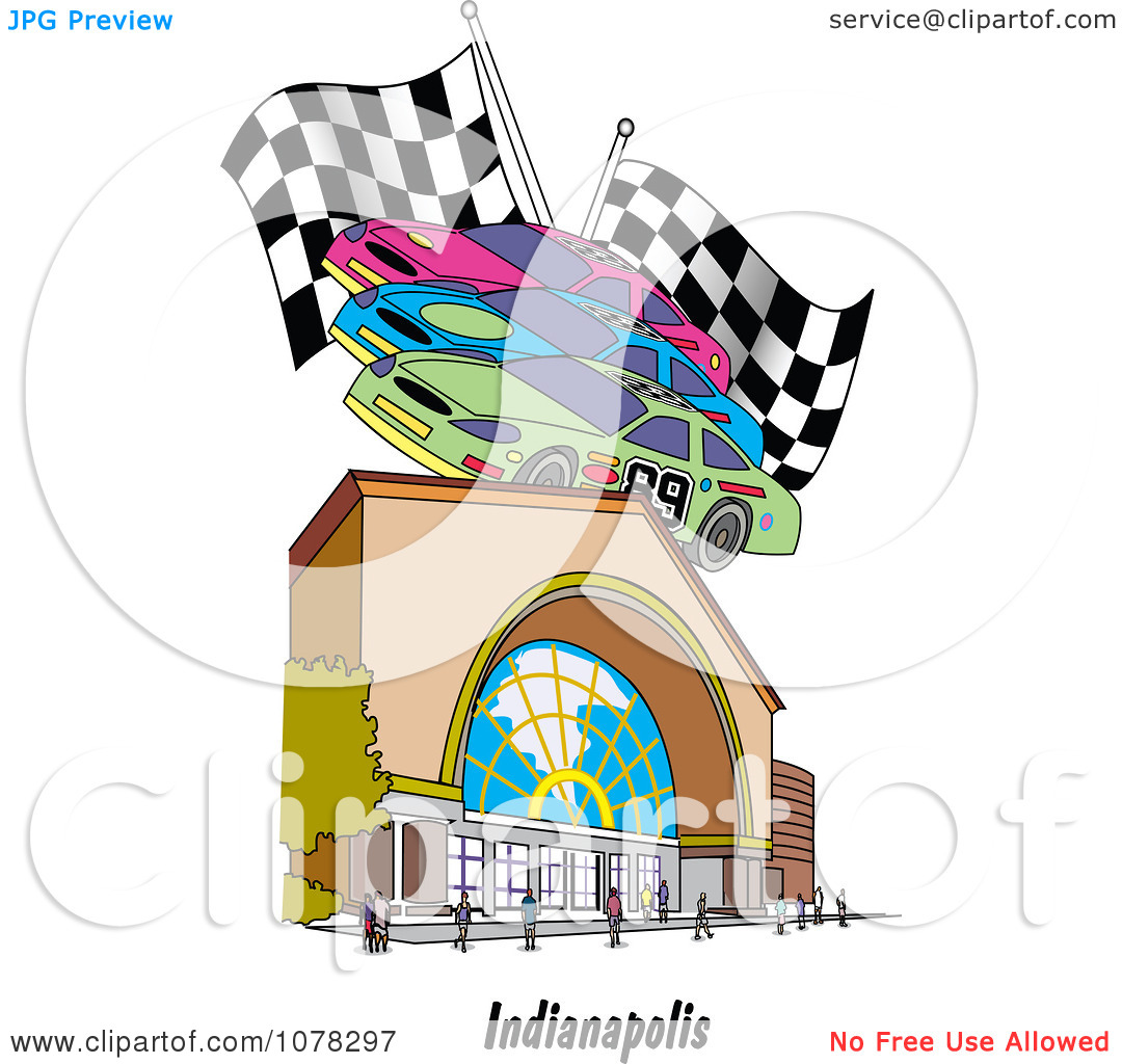 Clipart Motor Speedway Race Cars And Flags Over A Building In.