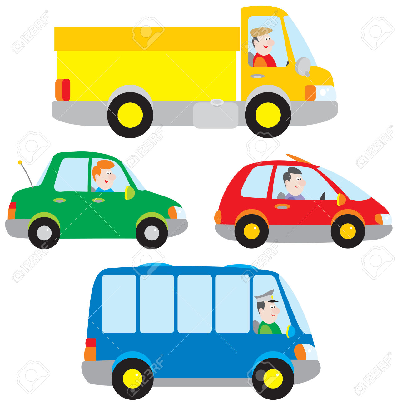 Cars, Truck And Bus Royalty Free Cliparts, Vectors, And Stock.