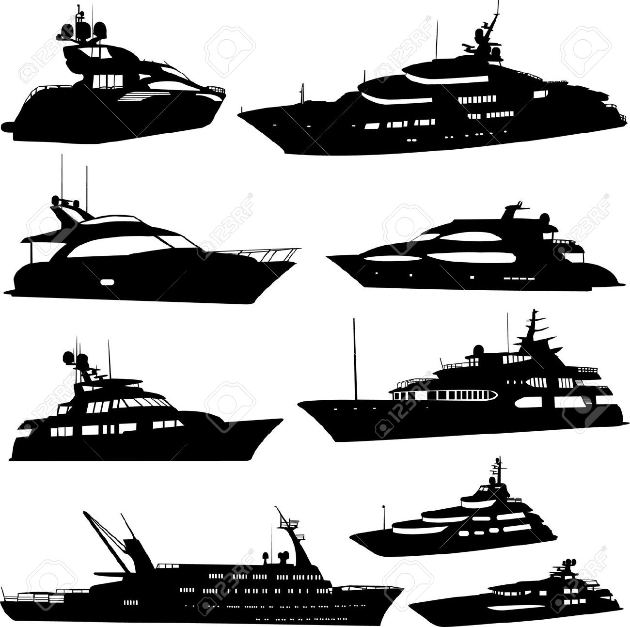 Motor Yacht Collection Royalty Free Cliparts, Vectors, And Stock.