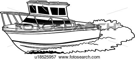 Clip Art of , boat, deep, fishing, power, power boat, sport, motor.