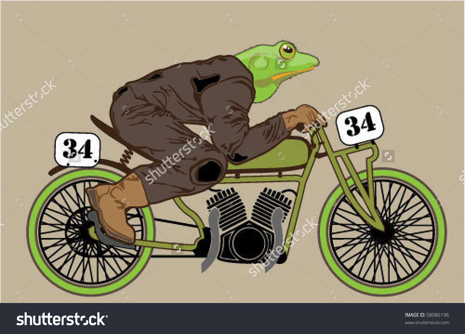 Crazy Frog Froganoid Riding Vintage Motorcycle Stock Vector.