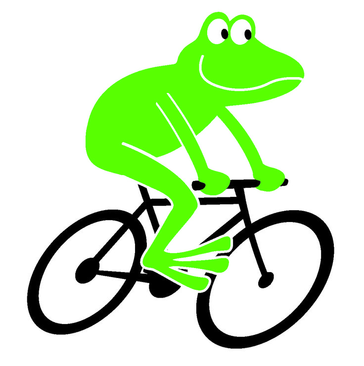Showing post & media for Cartoon frog riding bike.