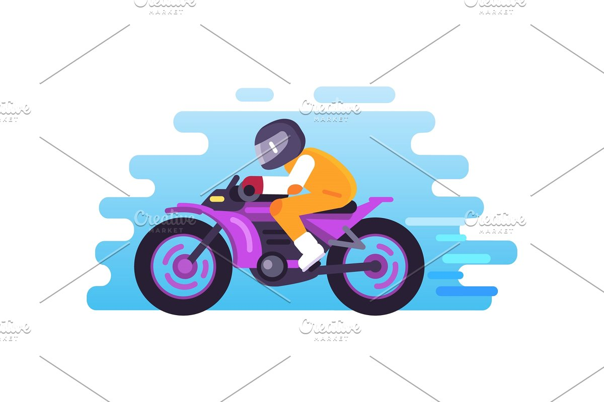 Racer Riding Motorbike Logo Isolated.