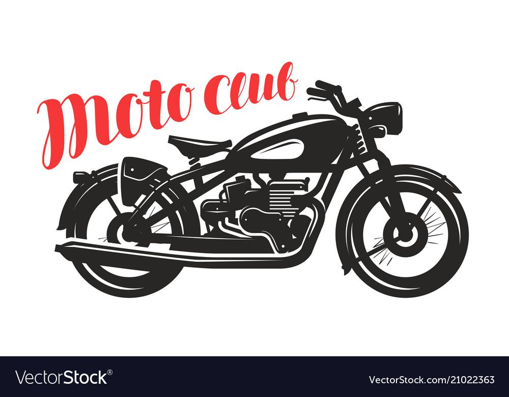 Motorcycle motorbike silhouette moto club logo.