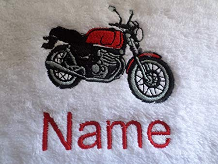 Hand Towel, Bath Towel or Bath Sheet Personalised with MOTORBIKE 1 logo and  name of your choice (Bath Towel 70x130cm).