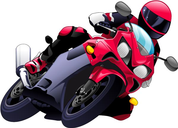 Race road motor cycle clipart.