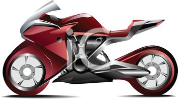 Royalty Free Clipart Image: Realistic Red Racing Street Bike.