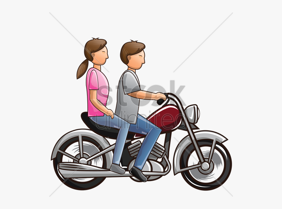 Couple Riding Motorcycle.