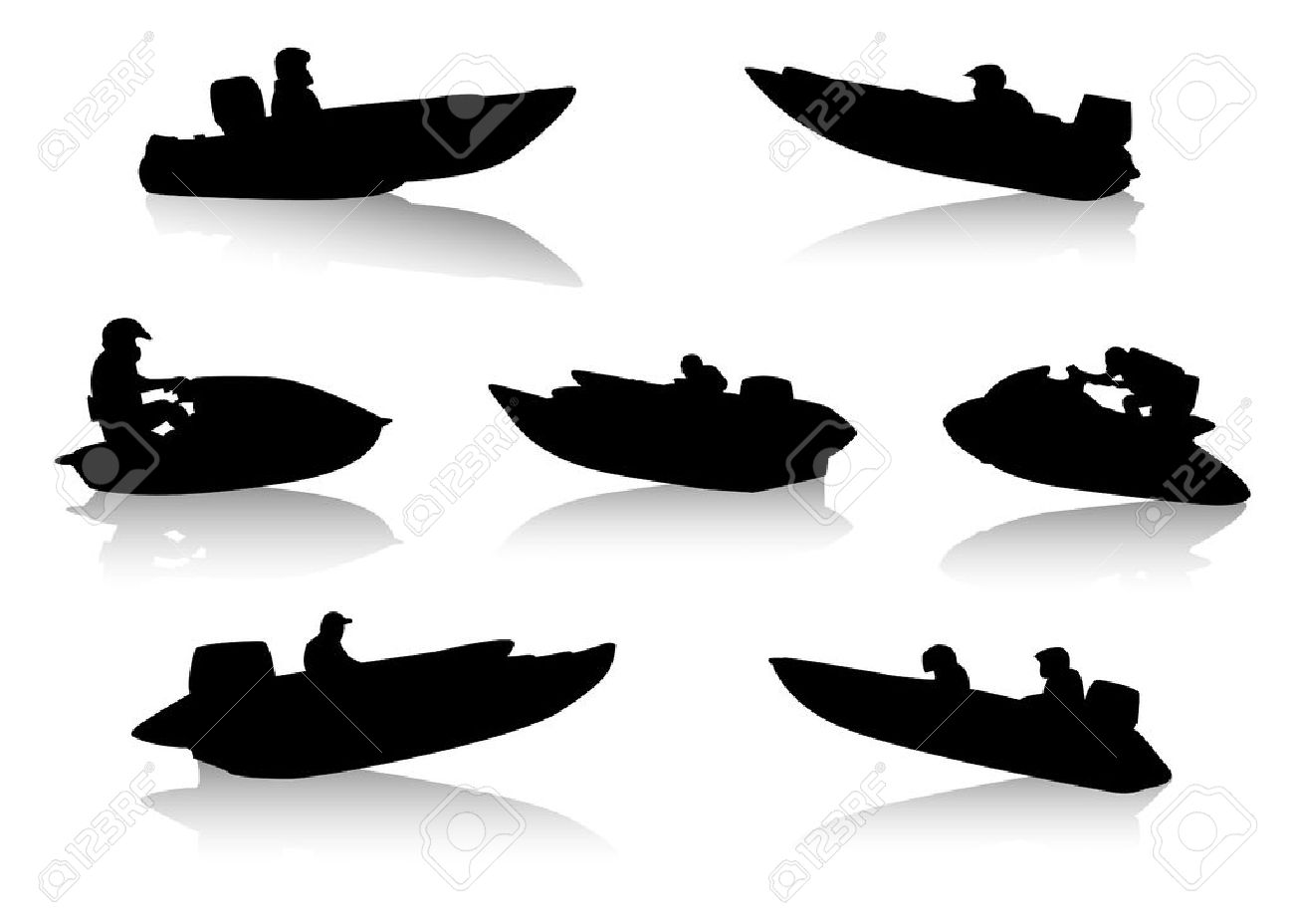 Silhouettes Of People On Motor Boats Royalty Free Cliparts.